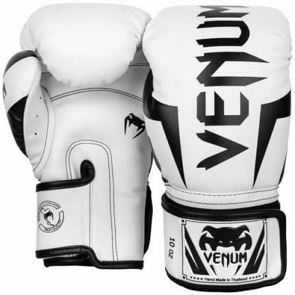 Боксерские перчатки Venum Elite Boxing Gloves White Black, фото 2