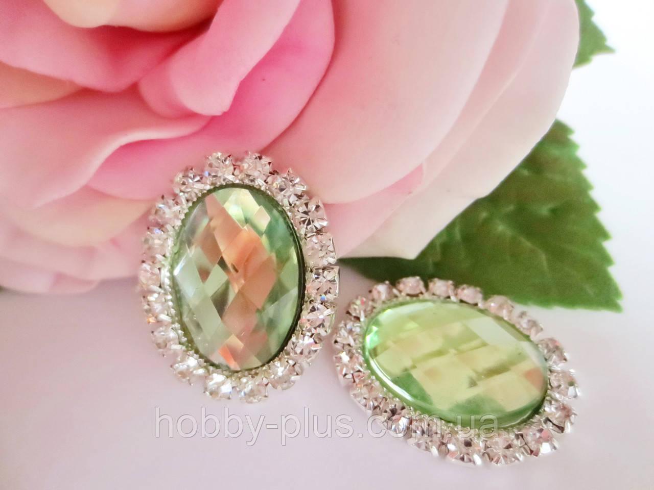 Камень в стразовой оправе, 20х25 мм, цвет светло-зеленый (лайм)