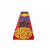 """Коврик-дорожка массажный с цветными камнями """"Ортопед"""" 200*40 см развивающий с фигурами + запасные камушки"""