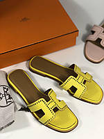 Стильные шлепанцы Hermes желтые (реплика), фото 1