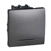 Выключатель проходной 16А с подсветкой Графит Unica Schneider, MGU3.263.12S