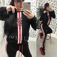 Женский спортивный костюм сиз двухнитки со вставками 5805327