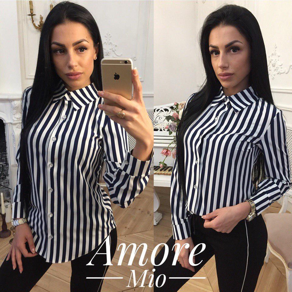 838be0002a1 Рубашка в полоску женская стильная Bl225 - Shoppingood в Харькове
