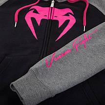 Женская толстовка Venum Infinity Hoody With Zip Black Grey, фото 2