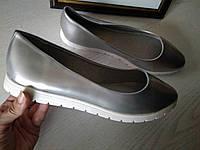 Женские туфли балетки серебро