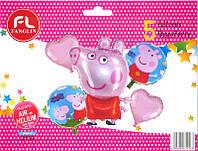 """Набор шаров """"Свинка Пеппа"""" розовая 5шт."""