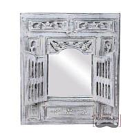 Зеркало на стену 60*60 см в раме деревянной в прихожую состаренное со ставнями