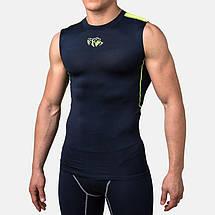 Компрессионная футболка без рукавов Peresvit Air Motion Compression Tank Navy Flu Yellow, фото 3