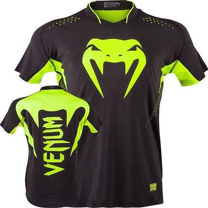Футболка Venum Hurricane X Fit T-shirt - Black/Neo Yellow, фото 2