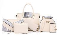 Жіноча сумка набір 6в1 бежевий з екошкіри опт, фото 1