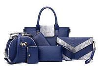 Женская сумка набор 6в1 синий из экокожи, фото 1