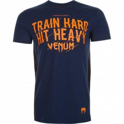 Футболка Venum Train Hard Hit Heavy T-Shirt Navy, фото 2