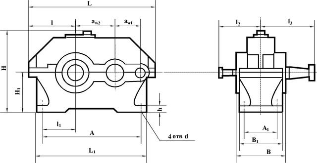 Схема редуктора двухступенчатого серии 1Ц2У-125
