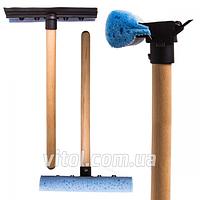 Швабра автомобильная для мытья стекол Tom Par NT 83454, длина 37 см, деревянная ручка, авто-мойка для стекол, швабра для лобового стекла