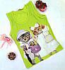 "Майка ""Cats"", коттон, размер 140-176, салатний"