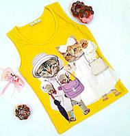 """Майка """"Cats"""", коттон, размер 140-176, желтый"""