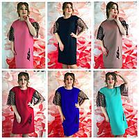 Женское платье ровного кроя батального размера 50-56
