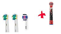 Насадки для зубной щетки ORAL-B 4 шт. (1 шт. 3D-White,  2шт. Floss Action, 1 детская)