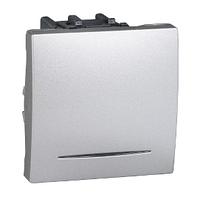 Выключатель проходной 16А с подсветкой Алюминий Unica Schneider, MGU3.263.30N