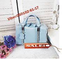 Женская кожаная сумка в голубом цвете Базовая модель  код KT22228 кожаные женские сумки