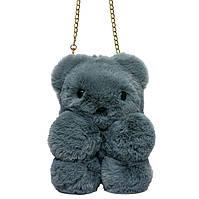 """Меховая сумка-рюкзак """"Медвежонок"""" 11 Цветов Серый, фото 1"""