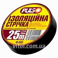 Изоляционная лента PULSO PVC (IС 25Ч), длина 25 м, черная, ПВХ, изолента, липкая лента, изоляционный материал, электроизоляционная лента