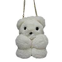 """Меховая сумка-рюкзак """"Медвежонок"""" 11 Цветов Белоснежный, фото 1"""