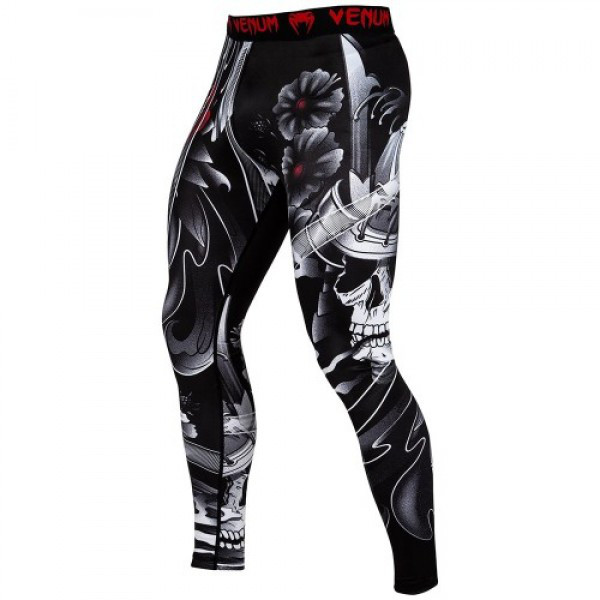 Компрессионные штаны Venum Samurai Skull Spats Black