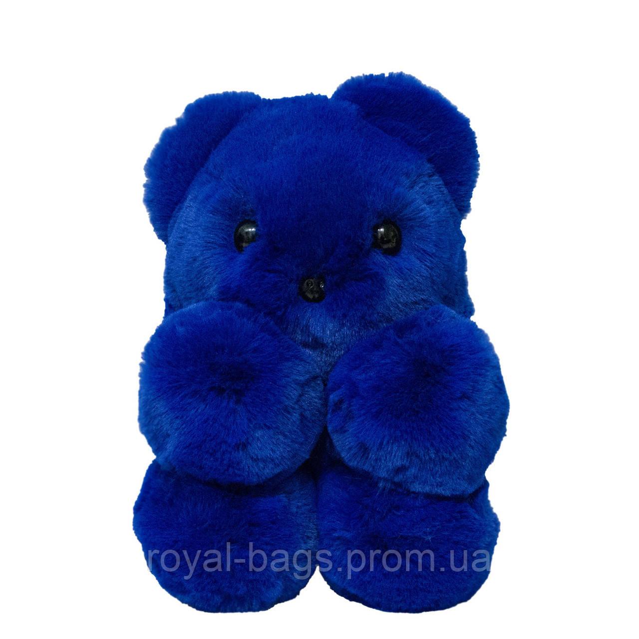"""Меховая сумка-рюкзак """"Медвежонок"""" 11 Цветов Синий"""