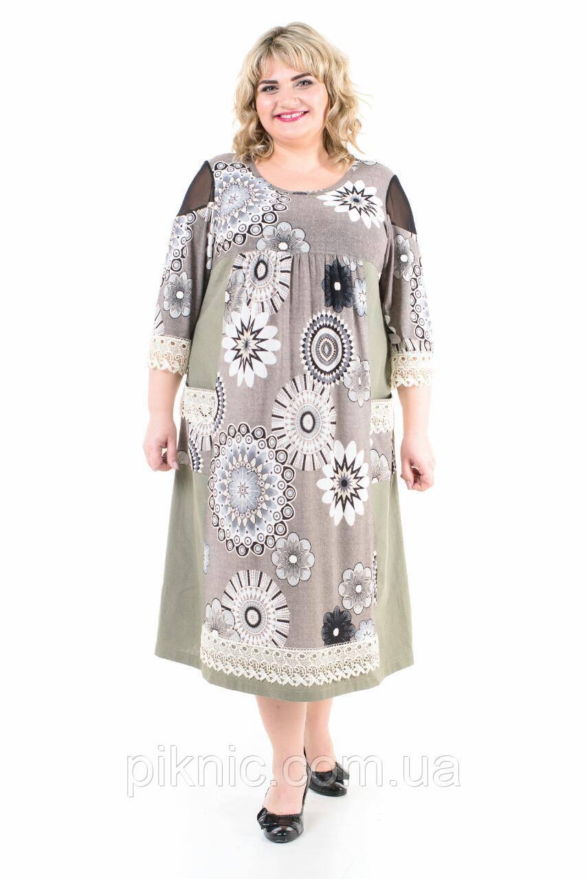 Платье Лукошко батал, х/б, 58-60. Женское платье большой размер