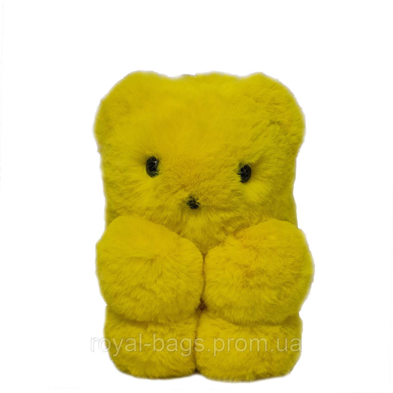 """Меховая сумка-рюкзак """"Медвежонок"""" 11 Цветов Желтый"""