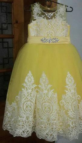 Дитяче бальне вечірнє плаття з мереживом і стразами на дівчинку 10-11 років., фото 2