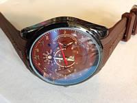 Мужские наручные часы с коричневом ремешком. (Арт. K199)