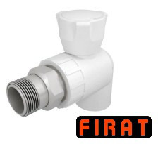 Кран радиаторный ППР Firat 20х1/2 угловой белый