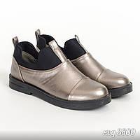 Закрытые туфли бронзового цвета из эко-кожи с вставками текстиля 5b53ac4e107bf