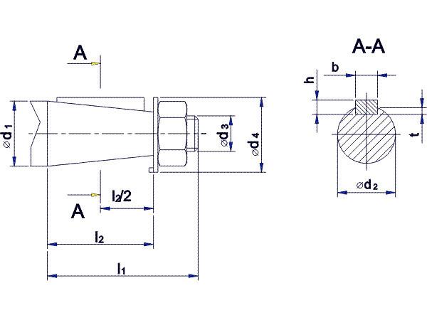 Присоединительные размеры конических валов редуктора 1Ц2У