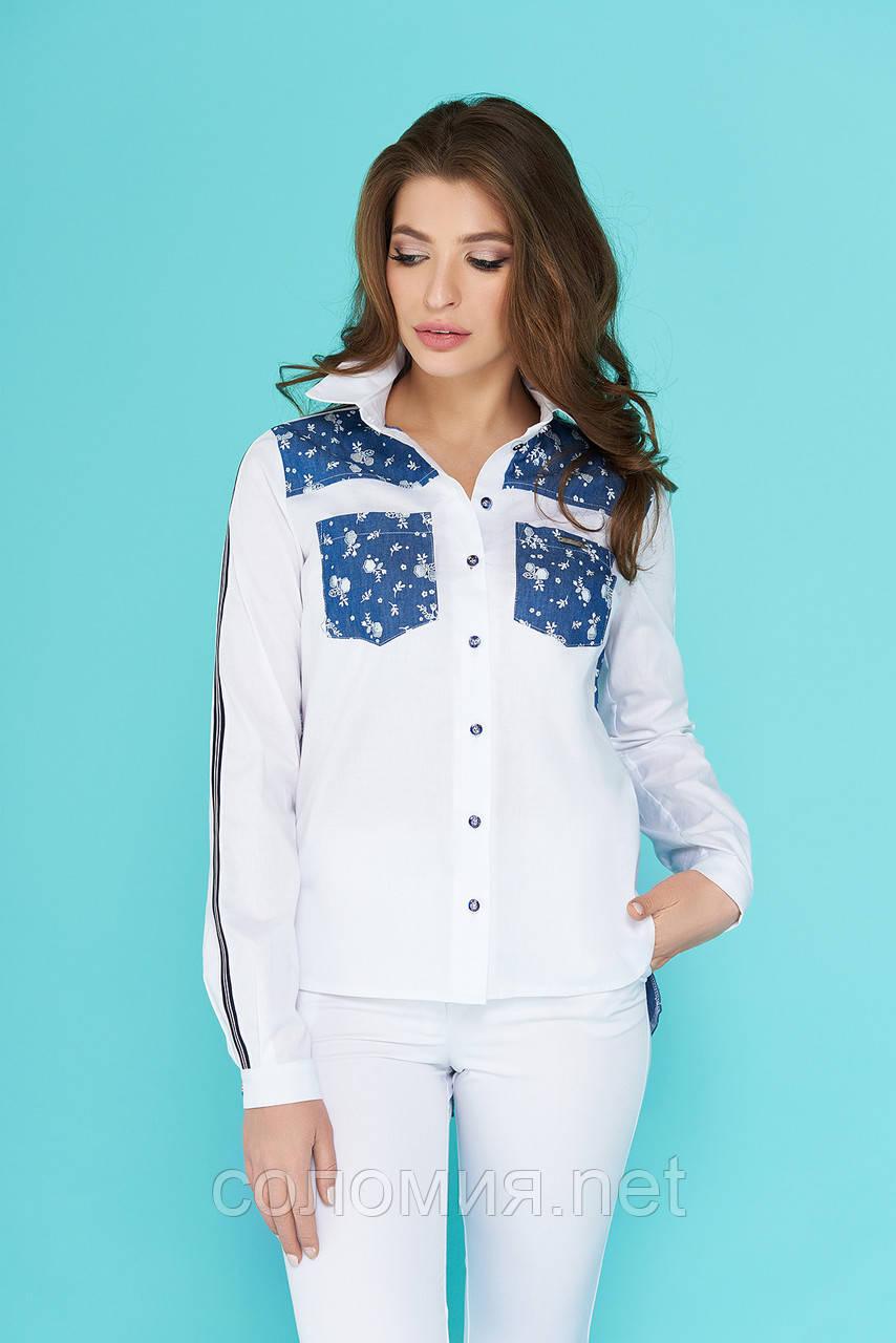 Комбинированная Блуза-рубашка с ассиметричным низом 44-52р