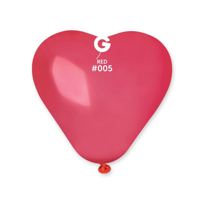 """Воздушные шары сердце 17"""" (43 см) красное пастель (50 шт)"""