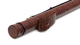 Тубус для кия с карманом на кнопке коричневый крокодил