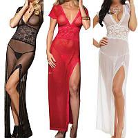 Сексуальное длинное прозрачное платье-сетка с глубоким вырезом, фото 1