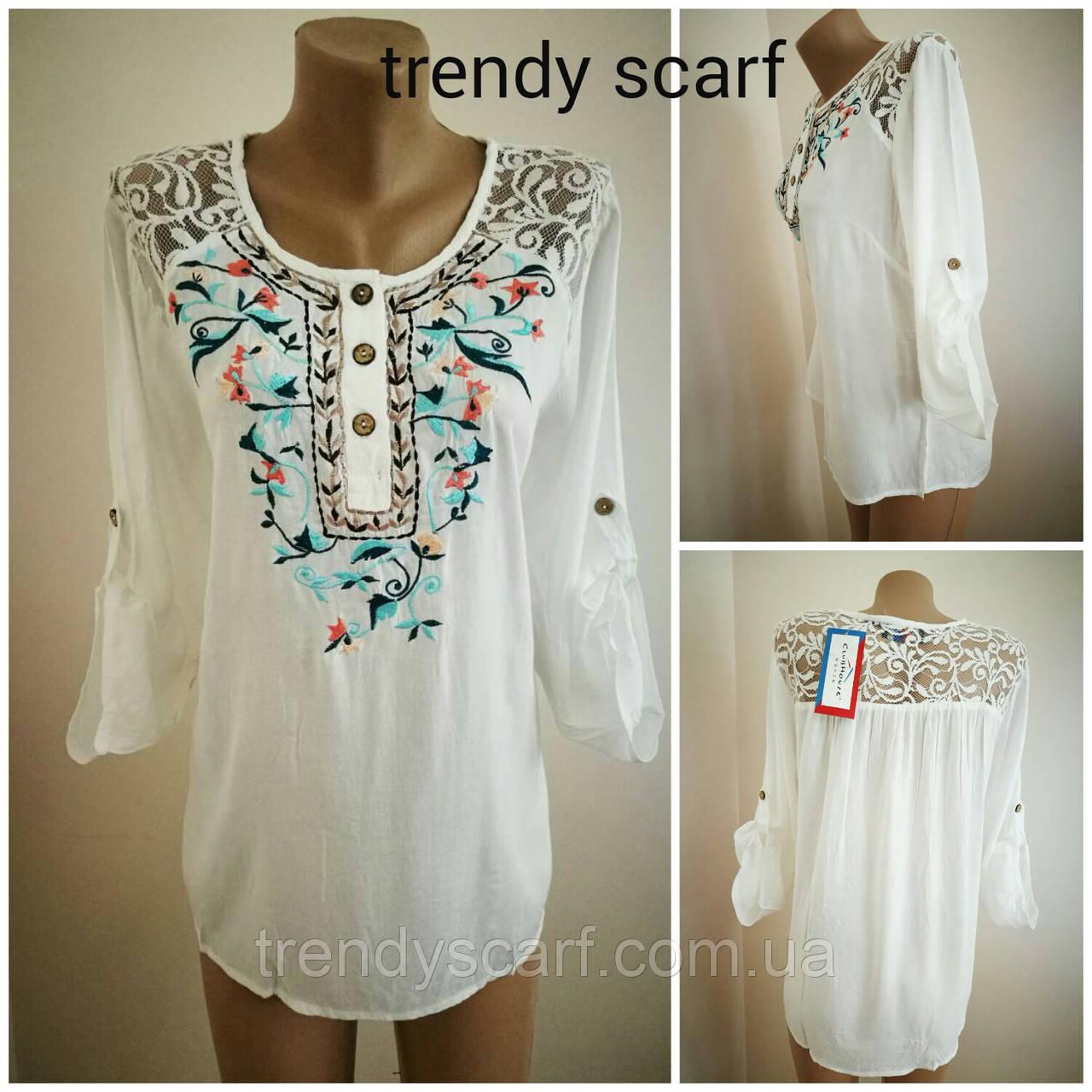 Женская летняя Блуза блузка рубашка удленненная белая с вышивкой и гипюром. Индия. Хлопок