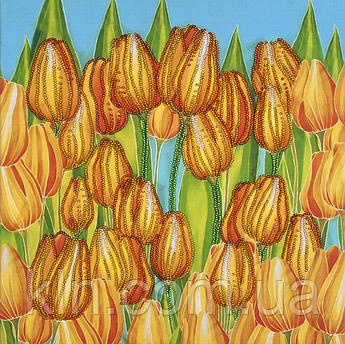 Набор для вышивания бисером FLF-123 Радостные тюльпаны 30*30 Волшебная страна качественный
