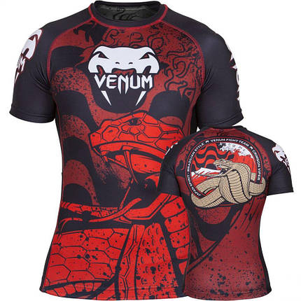 Рашгард Venum Crimson Viper Rashguard Short Sleeves Black Red, фото 2