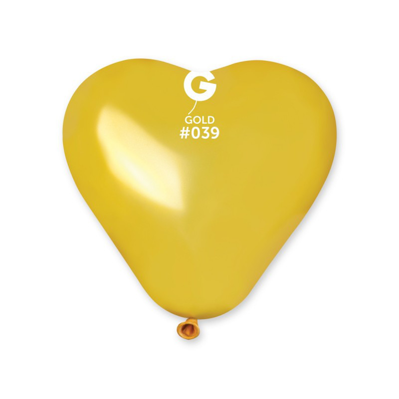 "Сердце 17"" (43 см) золото металлик (50 шт.)"