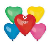 """Надувные шарики в форме сердца пастель ассорти 10"""" 25 см"""