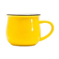 Керамічна гуртка Gloria, жовтого кольору, керамічна, під нанесення Деколлю
