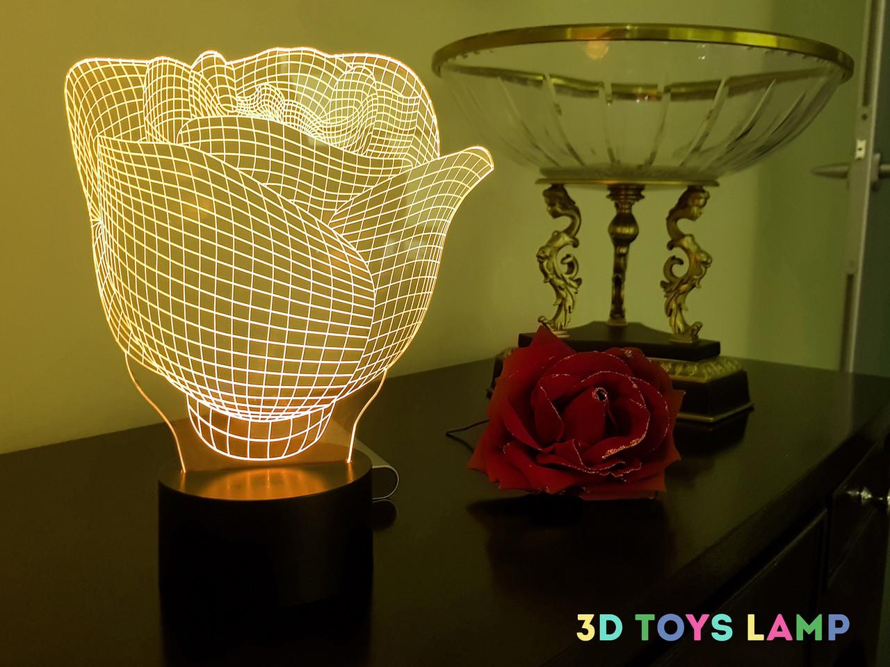 "3d светильник  ""Роза"" 3DTOYSLAMP, фото 1"