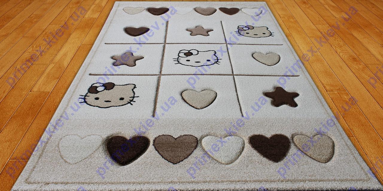Килим для дитячої кімнати hello kitty, Кітті з сердечками, колір беж. Килимок дитячий ціна
