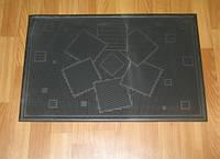 Чёрный резиновый придверный коврик с кубиками, фото 1