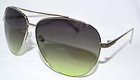 Солнцезащитные зеленые очки унисекс Капли лето 2018 в серебристой оправе